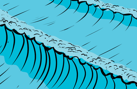 Tall ocean waves as sketched background illustration