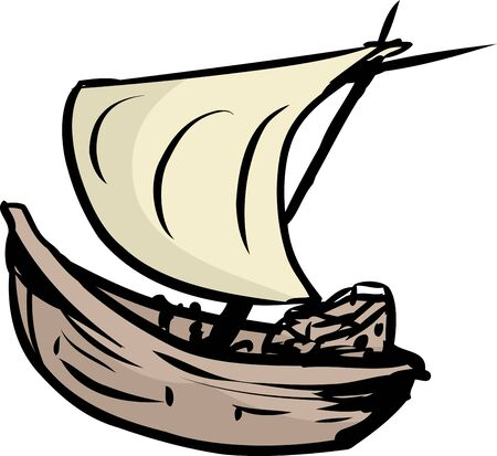 clipper: Single simple isolated clipper ship or sailboat over white background Illustration
