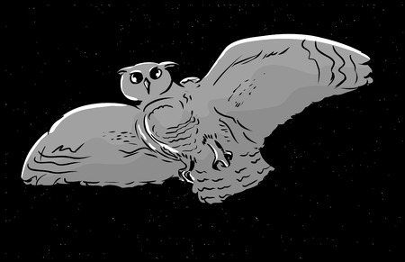 widespread: Low angle view illustration of owl with widespread wings flying at night Illustration
