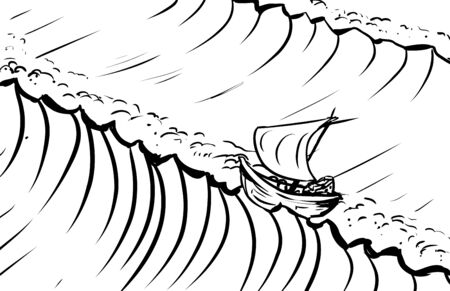 deep ocean: Outlined ship riding tidal waves in deep ocean Illustration
