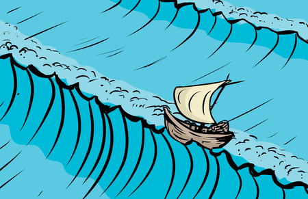 Boat on crest of tall ocean waves as sketched background illustration Иллюстрация