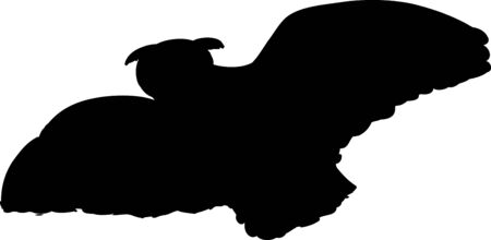 mid air: Low angle silhouette view illustration of owl with widespread wings flying in the air Illustration