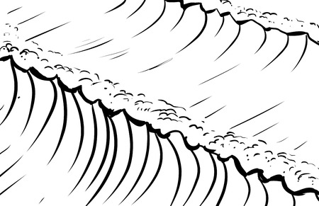 tidal wave: Outlined sketch of tall tidal waves in ocean