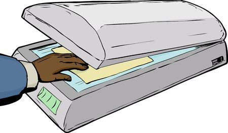 cut out device: Single hand placing photo or document on glass in flatbed scanner Illustration
