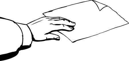 removing: Outline sketch of hand taking single piece of paper with folded corner on white background