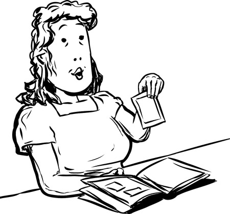 middle aged: Cartoon doodle of middle aged adult woman holding picture above her scrapbook