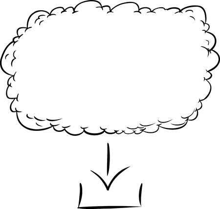 cloud based: Outline illustration of digital download from cloud based server