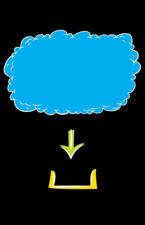cloud based: Hand drawn graphic of digital download from cloud based server over black background Illustration