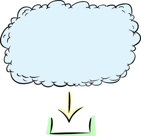 cloud based: Hand drawn graphic of digital download from cloud based server Illustration