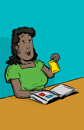 middle aged: Cartoon illustration of smiling middle aged adult female holding photo at table