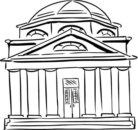 synagogue: Outlined synagogue sketch with curved windows and single door