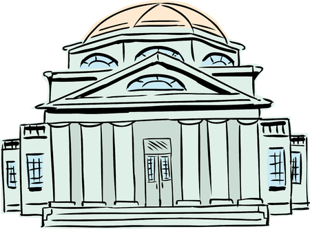 Exterior front view on single building with six tuscan style columns and domical roof Vector Illustration
