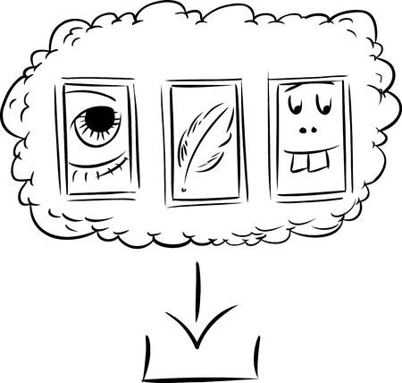 Outline doodle of silly icons as files in computer server cloud ready for download