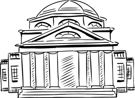 Outlined exterior front view on single neoclassical building with obscured doorway and domed roof