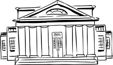 Outlined front view on single building with classical architecture design