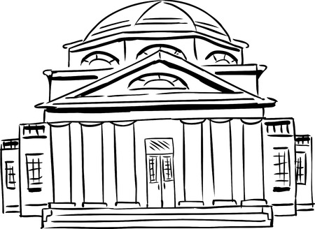 Outlined front view on single church with six tuscan style columns and domical roof Vector Illustration