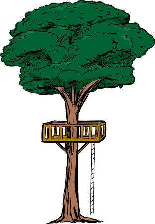 Tree with treehouse platform and rope ladder over isolated white background