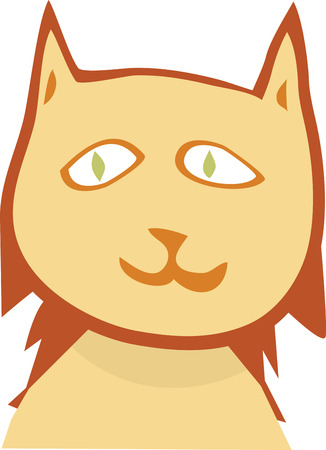 head shoulders: Illustration of head and shoulders of smiling cat over white background