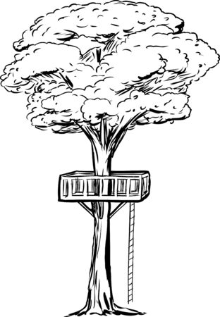 Outlined tree with treehouse platform and rope ladder over isolated white background