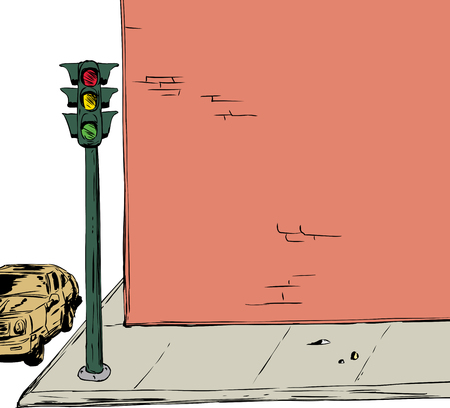 Background illustration of blank cartoon brick wall and sidewalk with stoplight and car