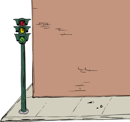 Illustration of blank cartoon brick wall and sidewalk with stoplight over white background