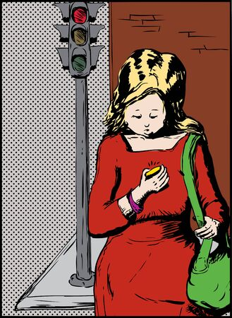 using phone: Blond woman with green purse looking down while crossing the street while using phone