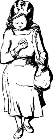 woman looking down: Outlined Caucasian woman carrying purse looking down while walking and using phone Illustration