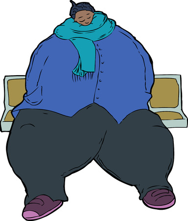 commuter: Cartoon of single sleeping obese woman clothed in jacket and scarf while seated in train seats