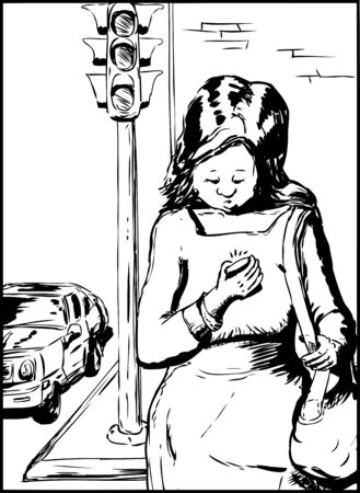 crossing street: Cluless single woman with purse crossing street while using her phone Illustration