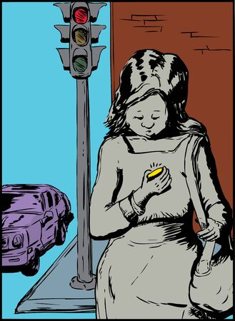 careless: Careless single woman with purse crossing street while using her phone Illustration