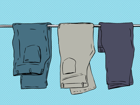 folded clothes: Hand drawn illustration of three pairs of folded jeans and pants over blue background Illustration