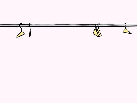 clotheshanger: Empty clothes hangers scattered along metal rod over white background