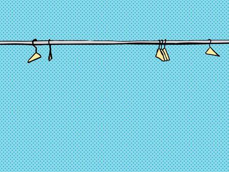 青色の背景に金属の棒に沿って散らばって空ハンガー  イラスト・ベクター素材