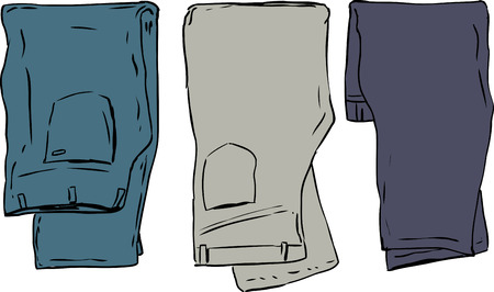 Simple illustration of three pairs of folded jeans and pants
