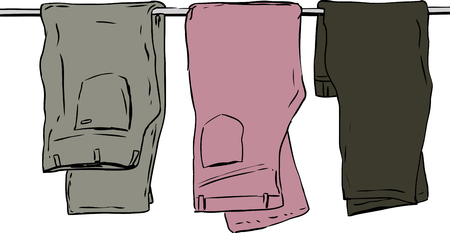 Hand drawn illustration of three pairs of folded jeans and pants over white background Çizim