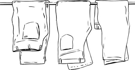 pairs: Outline illustration of three pairs of folded jeans and pants