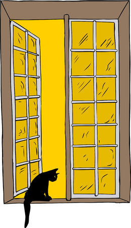 casement: Isolated hand drawn illustration of open casement window and cat with yellow sky
