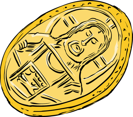 Cartoon of single Histamenon gold coin from the Byzantine Empire over white