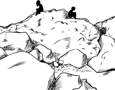 Outlined man and woman sitting on rocks not facing each other Illustration