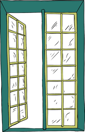 casement: Front view on hand drawn isolated illustration of open casement window
