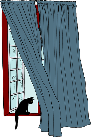 casement: Isolated hand drawn illustration of open casement window and cat looking over