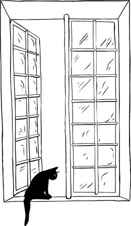 Isolated outlined illustration of open casement window and cat looking outside