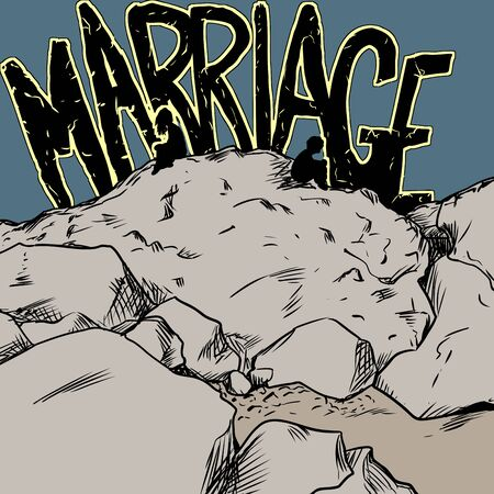 divorcing: Marriage text behind divorcing couple sitting on rocks not facing each other
