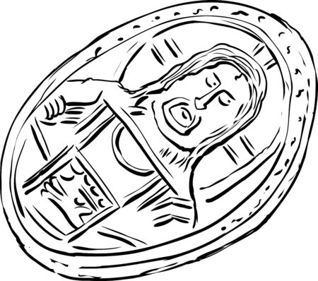 byzantine: Illustration of single old Histamenon coin from the Byzantine Empire over white
