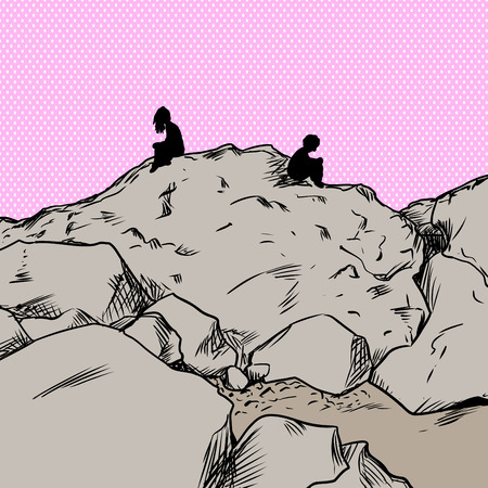 mountainside: Upset man and woman sitting on rocks not facing each other over pink background