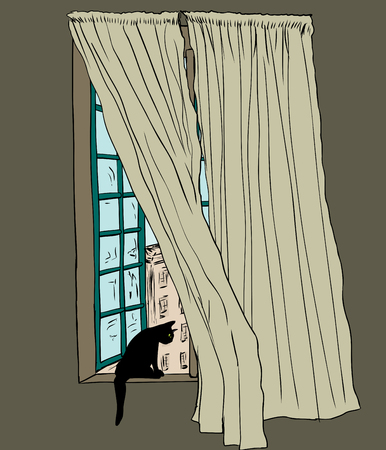 Sketch Of Drapes Blowing In Wind Front Open Casement Window And Black Cat Looking