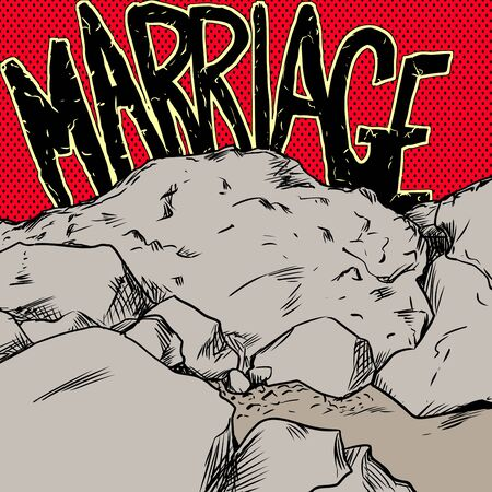 breakup: Concept illustration of marriage text over red and yellow over rocks