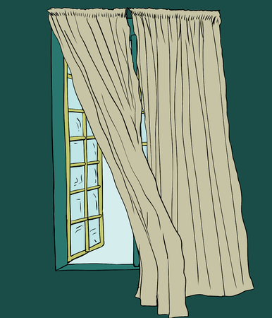 Hand drawn drapes blowing in wind beside open casement window indoors