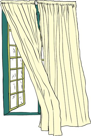 window view: Front view on isolated hand drawn illustration of open casement window with blowing curtains