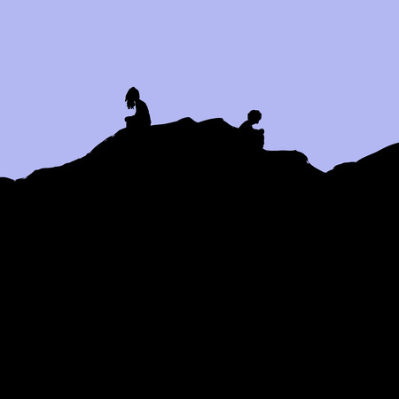 Silhouette of divorcing man and woman sitting on rocks not facing each other